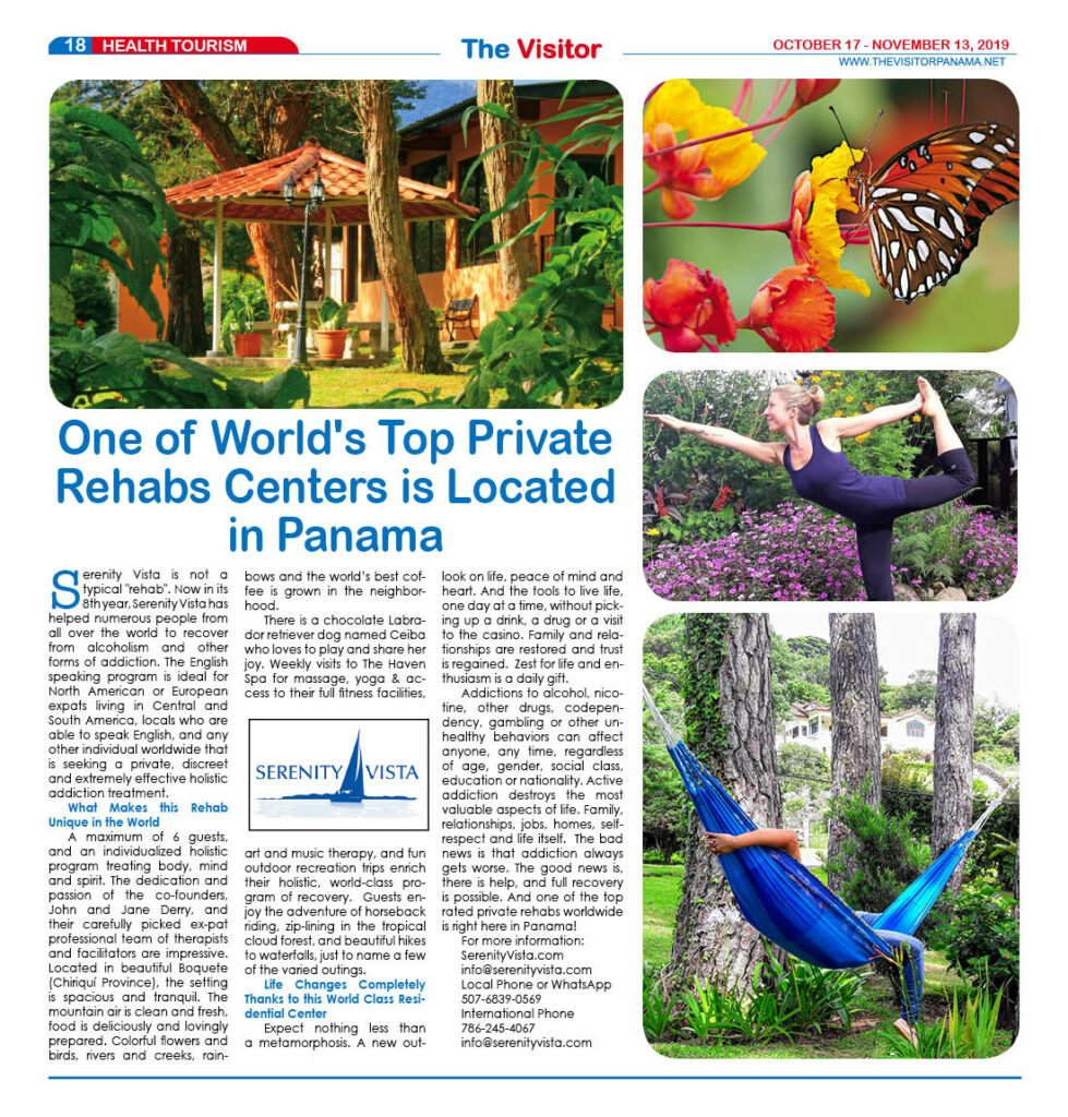 Serenity Vista featured by The Visitor magazine as a World Top Private Rehab for alcohol & drug addiction treatment